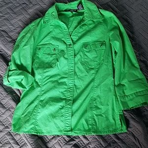 3/4 sleeve green blouse